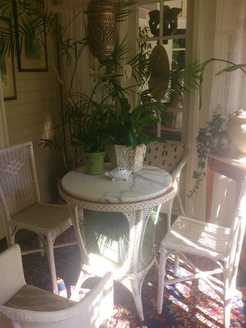 cottage, sun room, garden, whicker