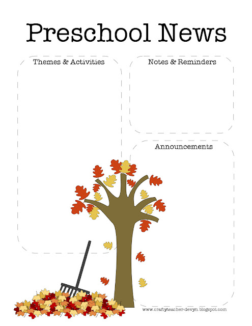 fall preschool newsletter template