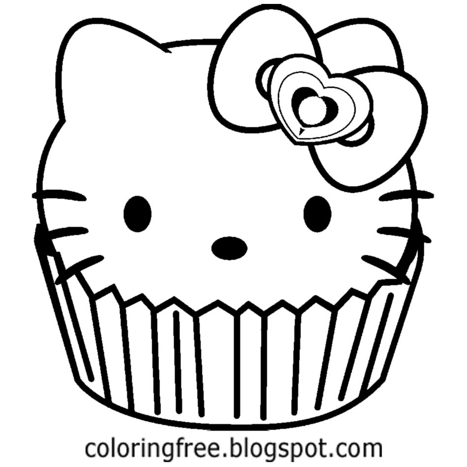 Hello Kitty Cupcake Coloring Page  Could Be A Handy