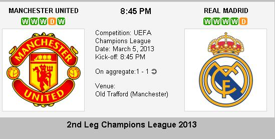 Manchester United vs Real Madrid 2nd leg champions