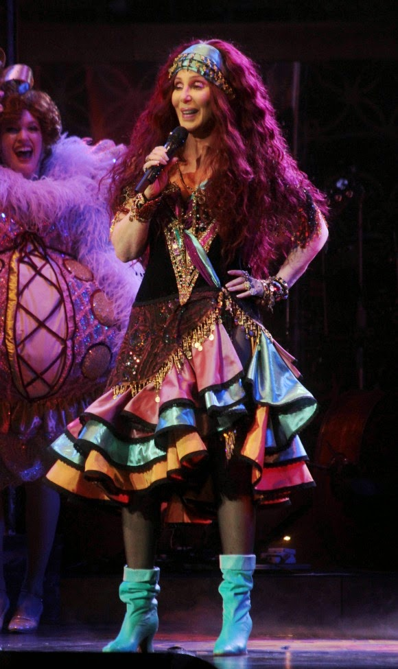 Cher performing in her gypsy outfit on her 'Dressed To Kill Tour'