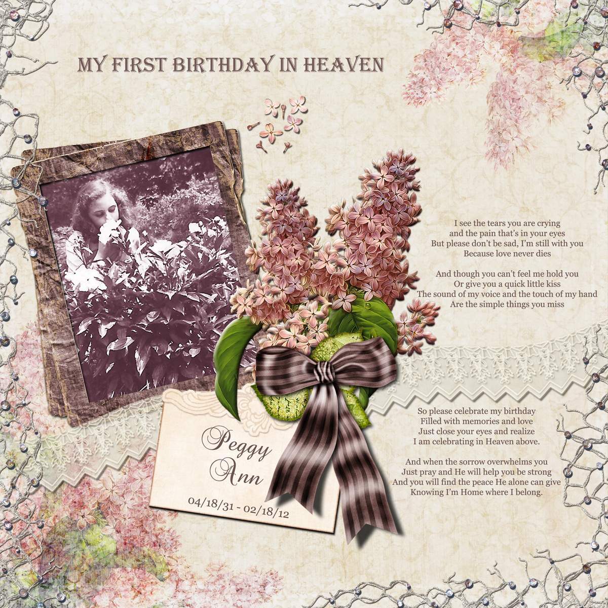 Missing My Mom In Heaven Quotes Custom Diane's Digital Scrapbook Pages My First Birthday In Heaven