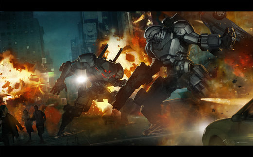 Mech Battle por Jessada-Art