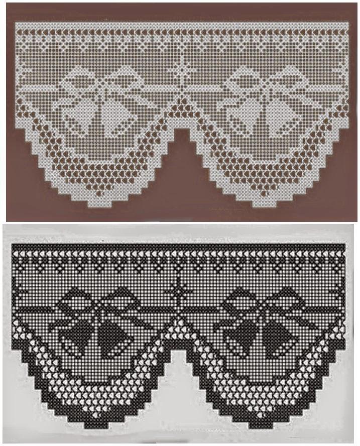 Patrón de cenefa en crochet filet con motivo de Navidad