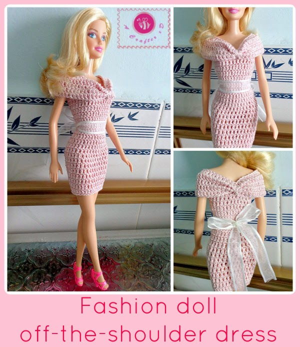 Fashion Doll Off The Shoulder Dress Free Crochet Pattern