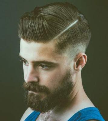 gaya rambut side line pria berjanggut 2016
