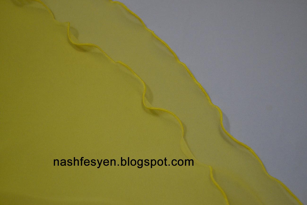 jahit tepi halus pada tudung 2 layer - kuning