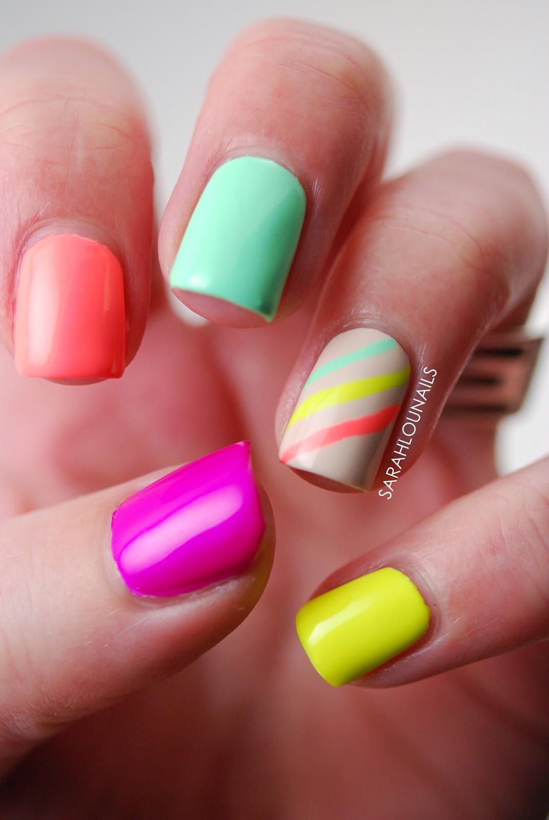 Sarah Lou Nails: Neon Stripe Nails!