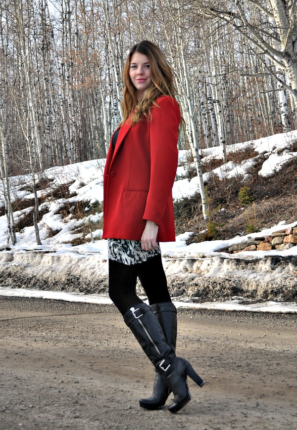 Red Blazer and DIY Skirt