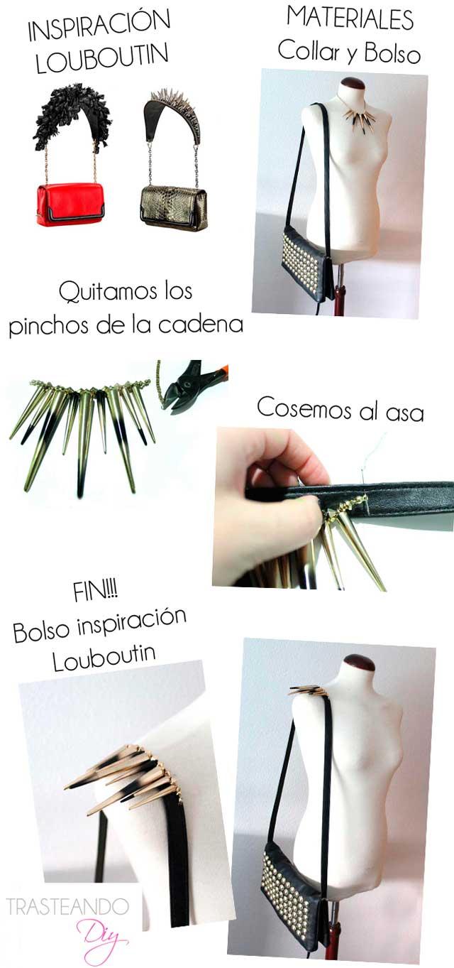 DIY BOLSO LOUBOUTIN TACHUELAS CLUTCH CRAFT HECHO A MANO