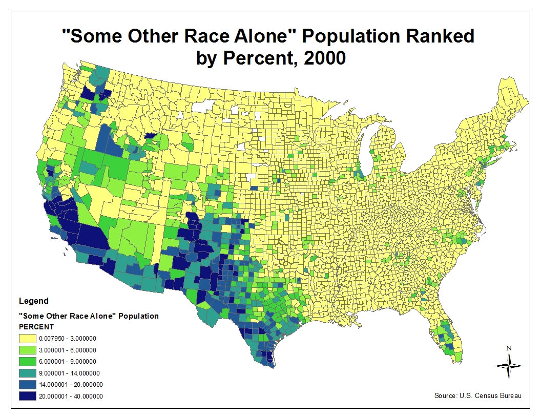 this second map illustrates population based on race that is not white black or asian i take this mean to mean it includes a large population of latinos