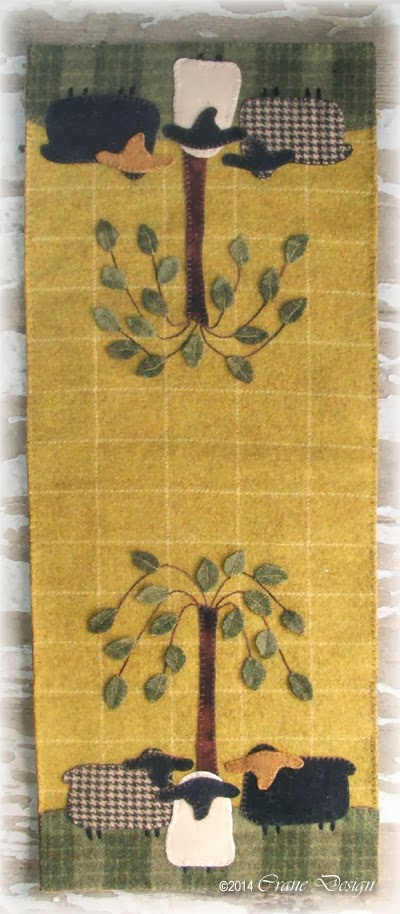 Crane design by jan mott wool applique penny rug punchneedle this bag would be perfect to display on a ole cupboard door with pussy willows and some daffodils a classic look that may be displayed all year round publicscrutiny Image collections