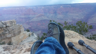 Benjamin Rubenstein wearing his lifted Keen sneakers at Grand Canyon