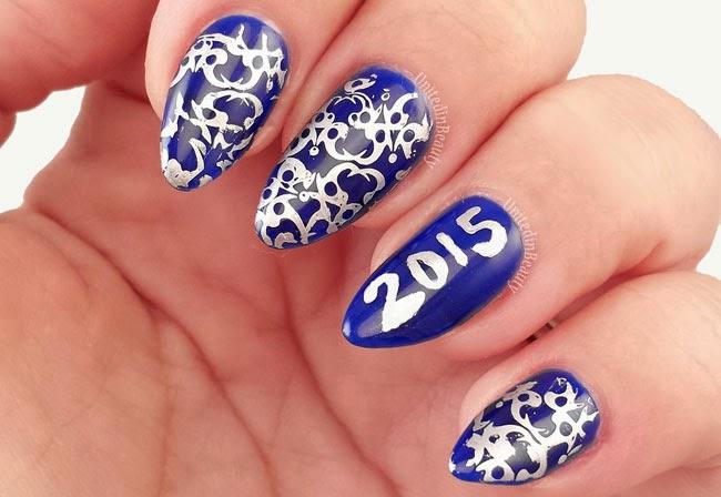 Blue and Silver Filigree Nail Art by @unitedinbeauty