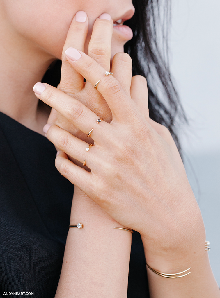 Andy Heart blogger,  minimalist rings closeup jewelry accessories