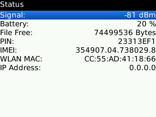 Status Windows Of BlackBerry