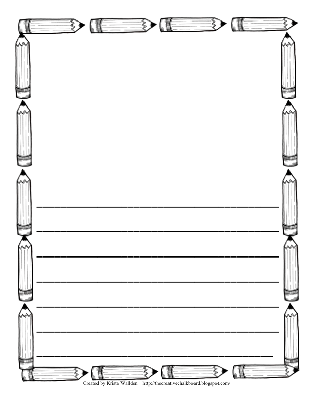 writing border page template – School Writing Paper Template