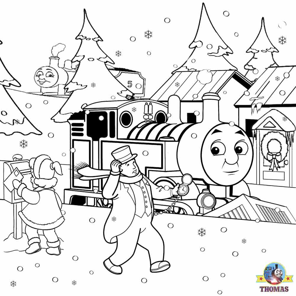 free childrens christmas activities james and thomas the train snowplough snowstorm image to colour