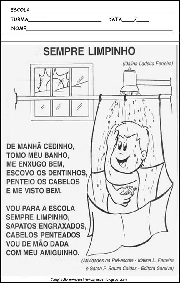 Muito ATIVIDADES DE HIGIENE CORPORAL | Cantinho do Educador Infantil IQ36