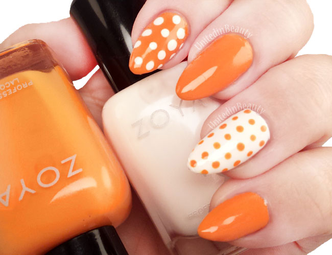 Orange and white polka dot dotticure nails by @unitedinbeauty