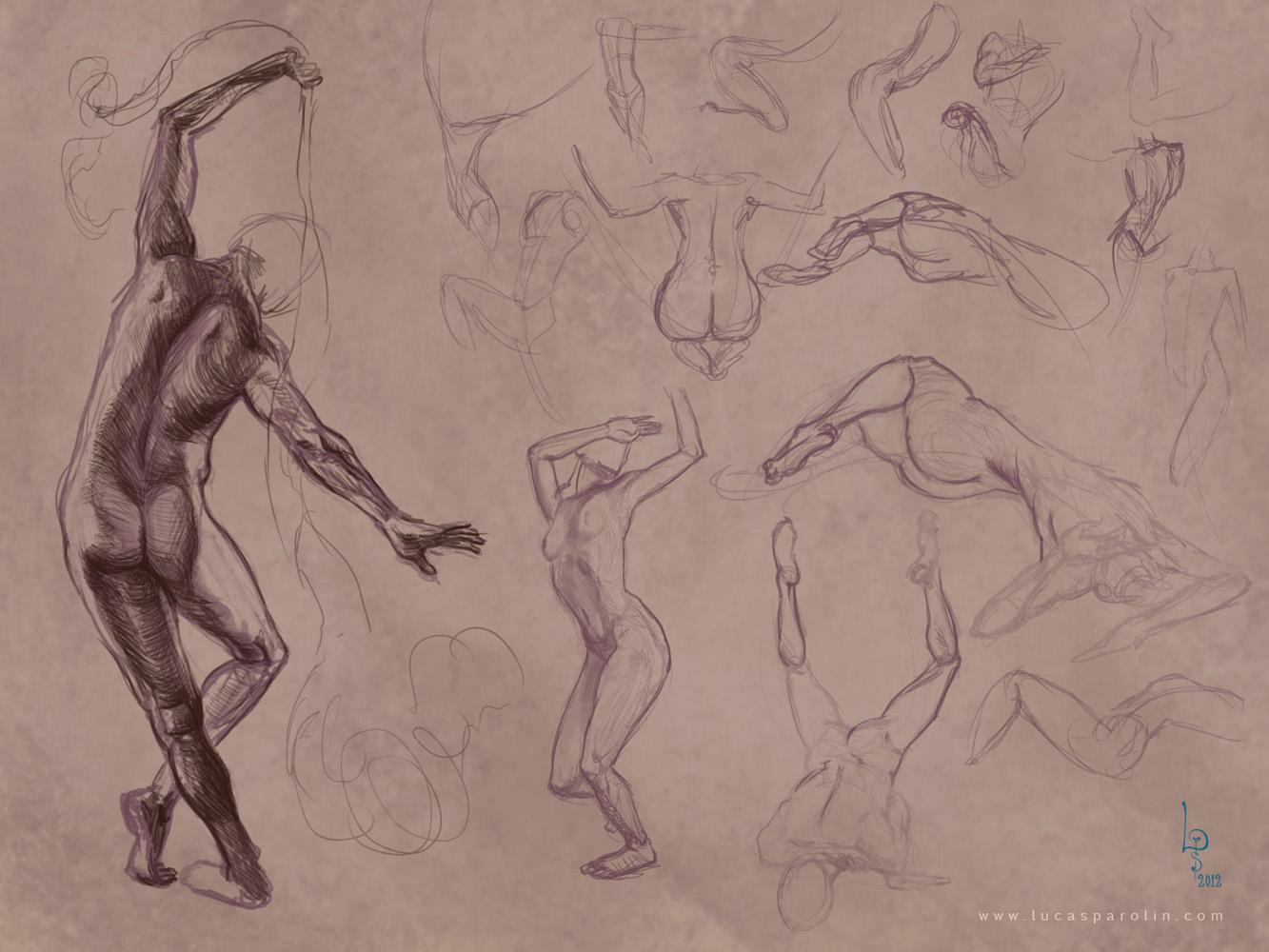 Lucas Parolin - concept art and studies: anatomy poses