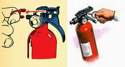 Tarik Pin Alat Pemadam untuk menggunakan tabung pemadam kebakaran