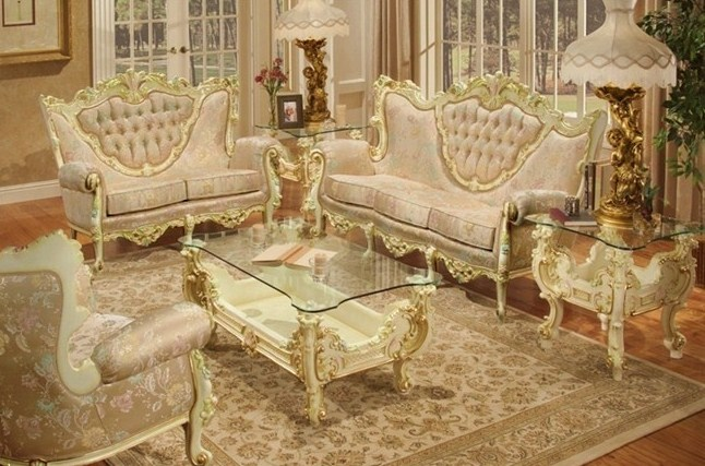 Modern Classical Sofa Set 001,off White Accentuated With Gold Leaf On  Serpentine Carvings