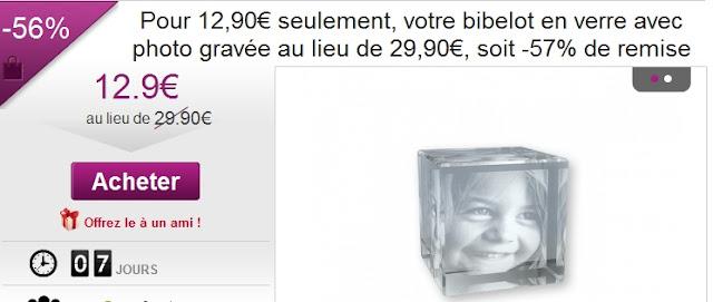 deal igraal: Cube en verre avec photo de votre choix pour 14.90€