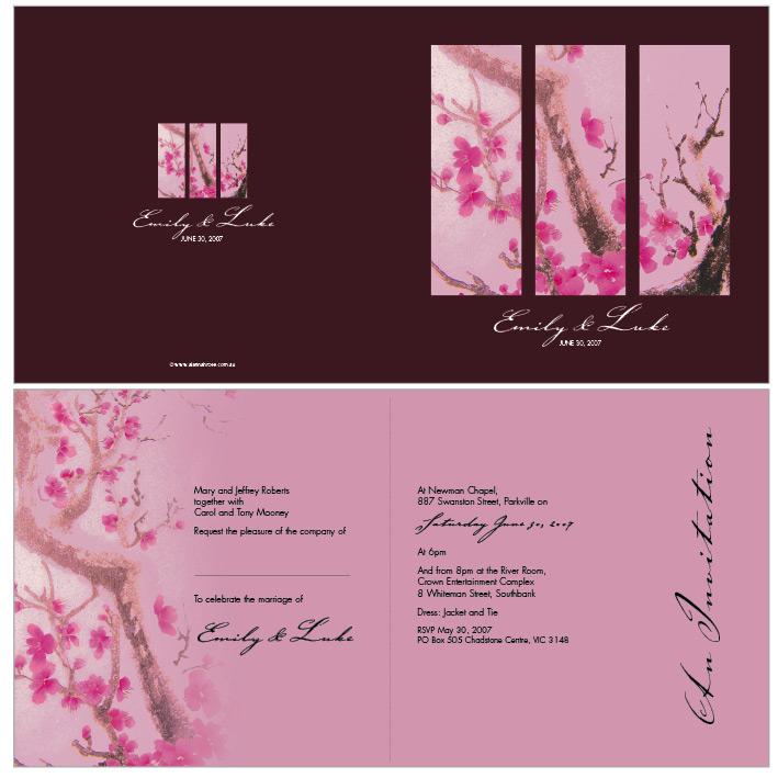 Elegant Wedding Invitations: cherry blossom wedding invitations
