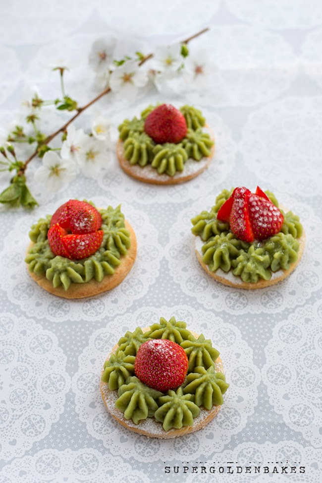 Strawberry tartlets with matcha pastry cream - Supergolden Bakes