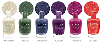 zoya pixie dust fall collection 2013 green blue purple pink orange