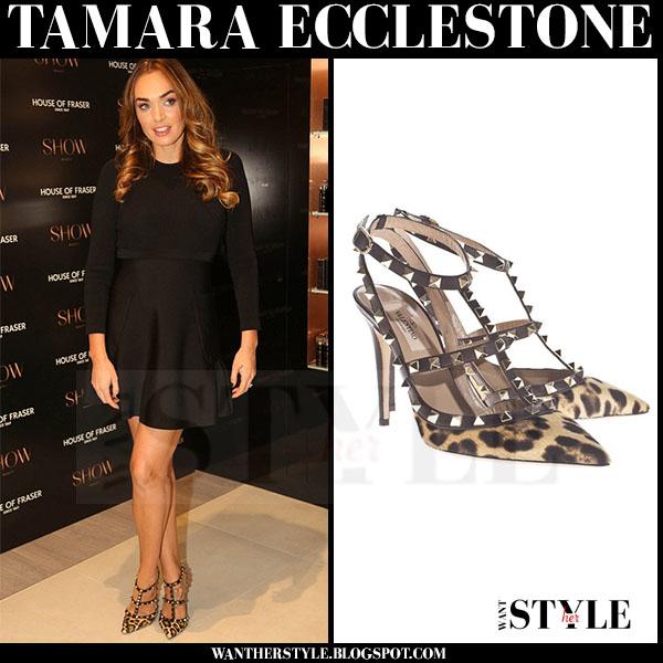 Tamara Ecclestone in black mini dress and leopard print pumps valentino rockstud what she wore