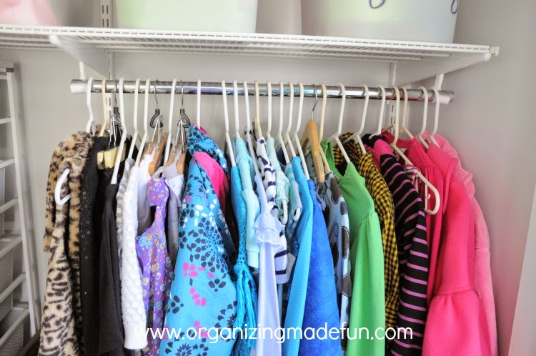 Girl's organized closet ready for school :: OrganizingMadeFun.com