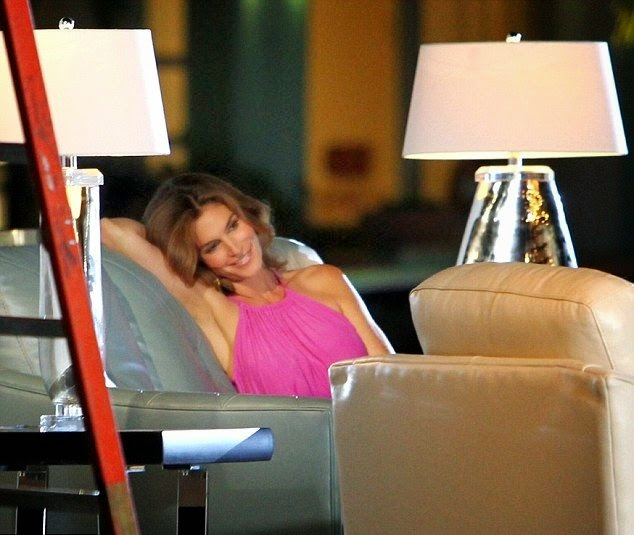 Cindy Crawford seemed to have been extremely understanding about the reality as she hit all of the right witty notes for her own furniture line filming ads in Miami, FL, USA on Saturday, September 13, 2014.