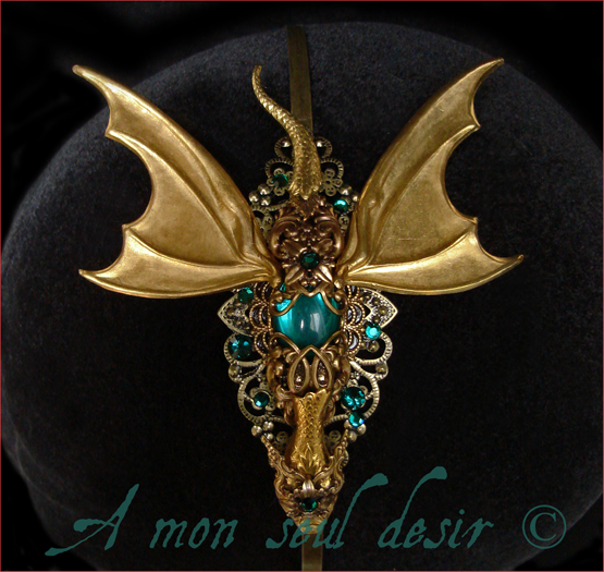 Dragon Headdress Medieval Fantasy Hair Jewellery Daenerys Targaryen Gold Smaug Tolkien Mythology