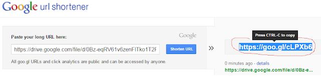 pendek url guna google