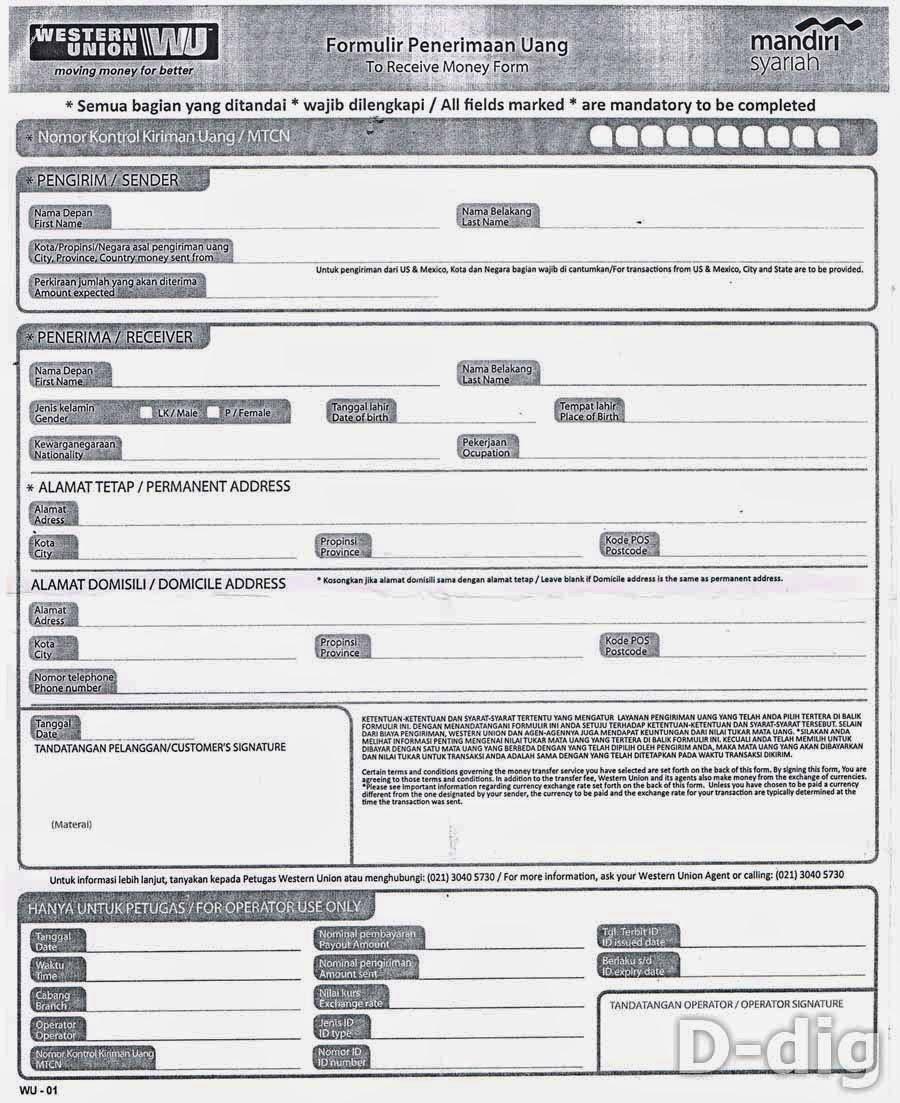 formulir penerimaan uang - Cara Ambil Uang Google Adsense Via WU di Bank Syariah Mandiri