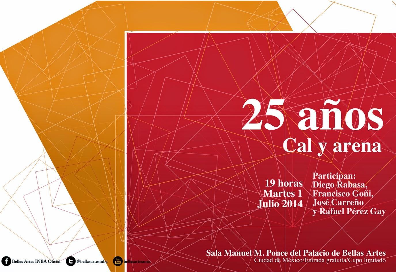 Charla sobre los 25 años de Ediciones Cal y Arena en el Palacio de Bellas Artes