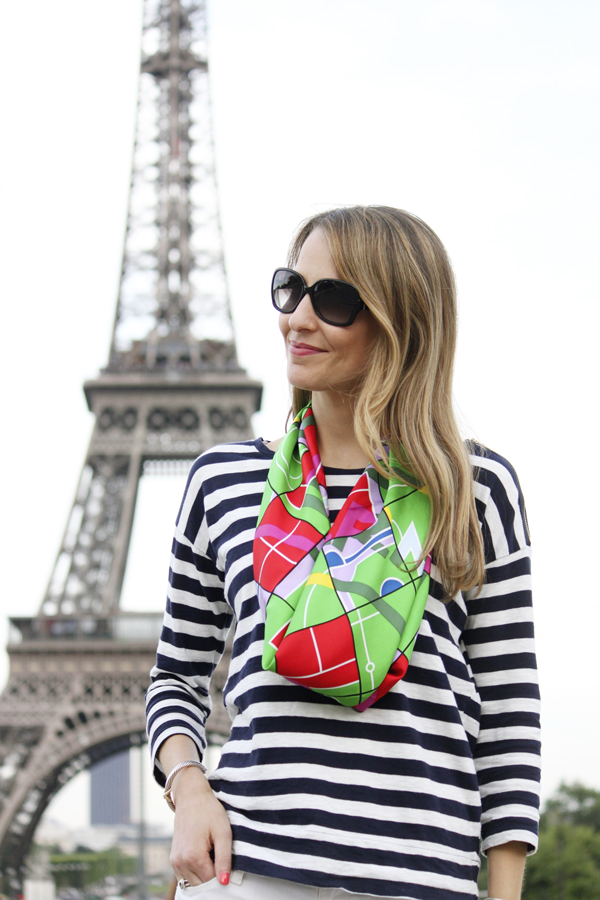 Striped shirt + Hermes scarf at the Eiffel Tower
