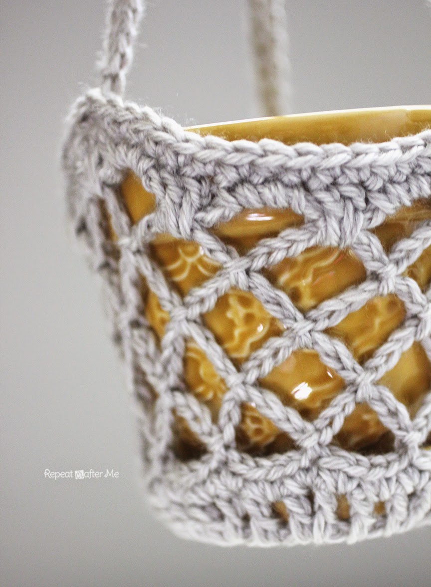 Repeat Crafter Me: Crochet Flower Pot Hanging Basket