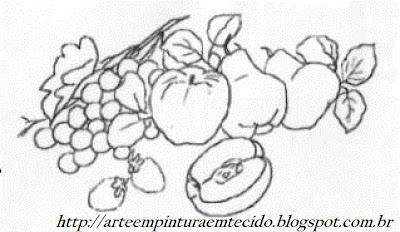 risco pintura em tecido frutas