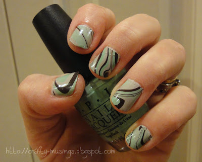 my first water marble manicure