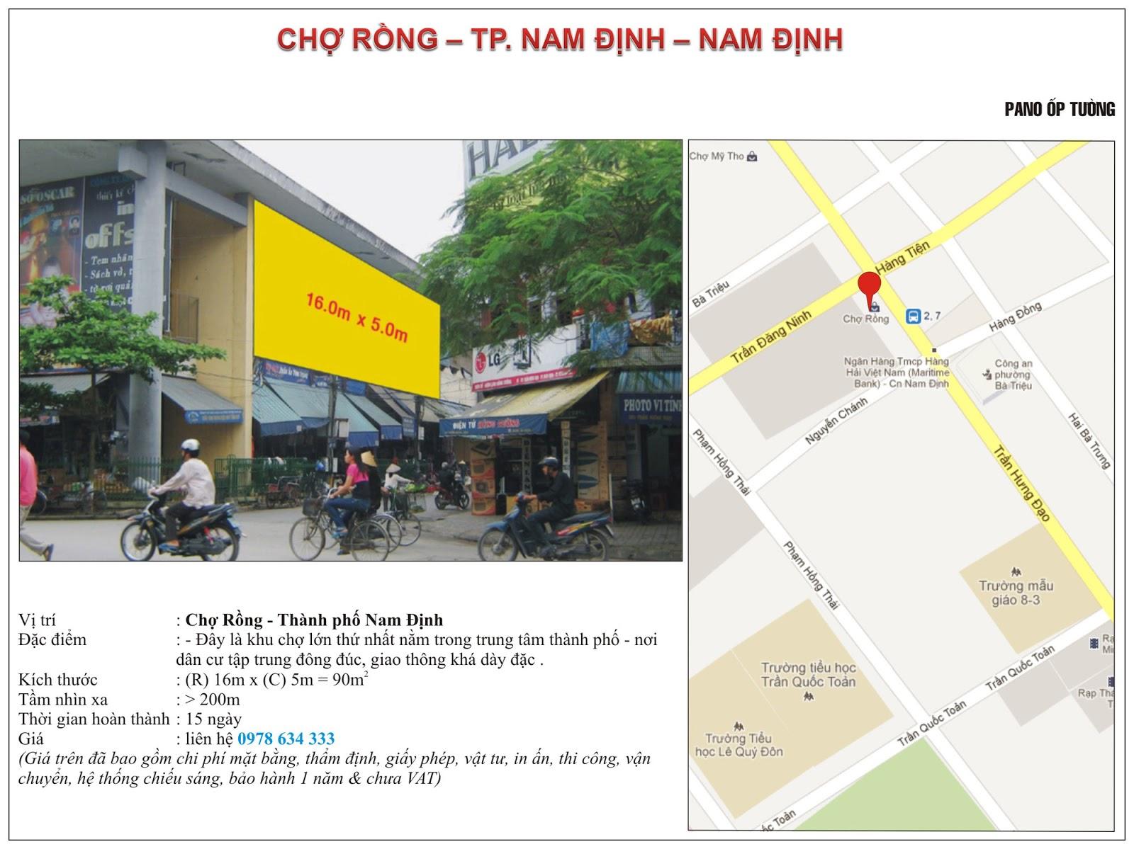Quảng cáo tại chợ Rồng - Nam Định