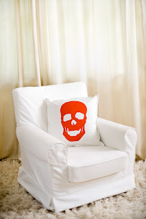 skull pillow tangerine orange