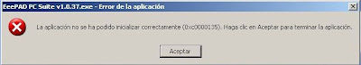 Imagen de un error en Windows XP