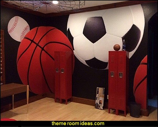 all sports bedroom wall murals all sports theme bedroom decorating ideas sports wall murals - Ideas For Bedroom Decorating Themes