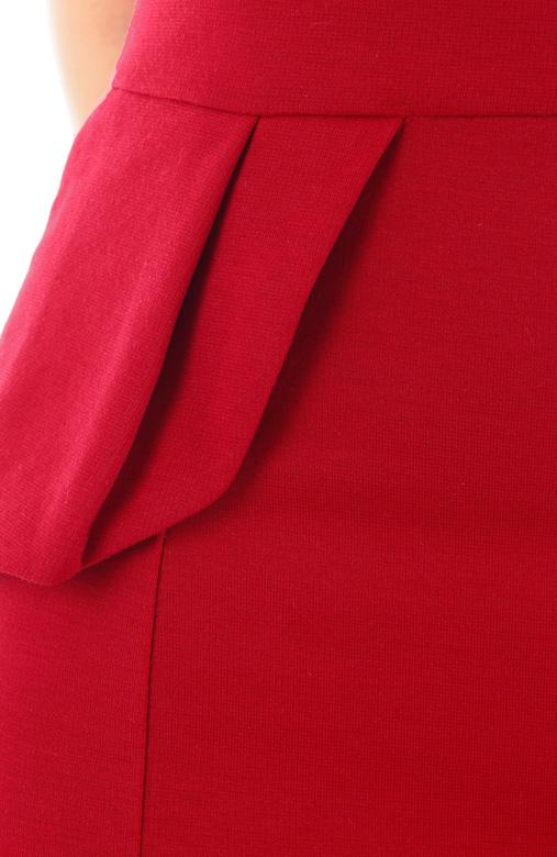 Frill Forte Peplum Dress – Poppy Red