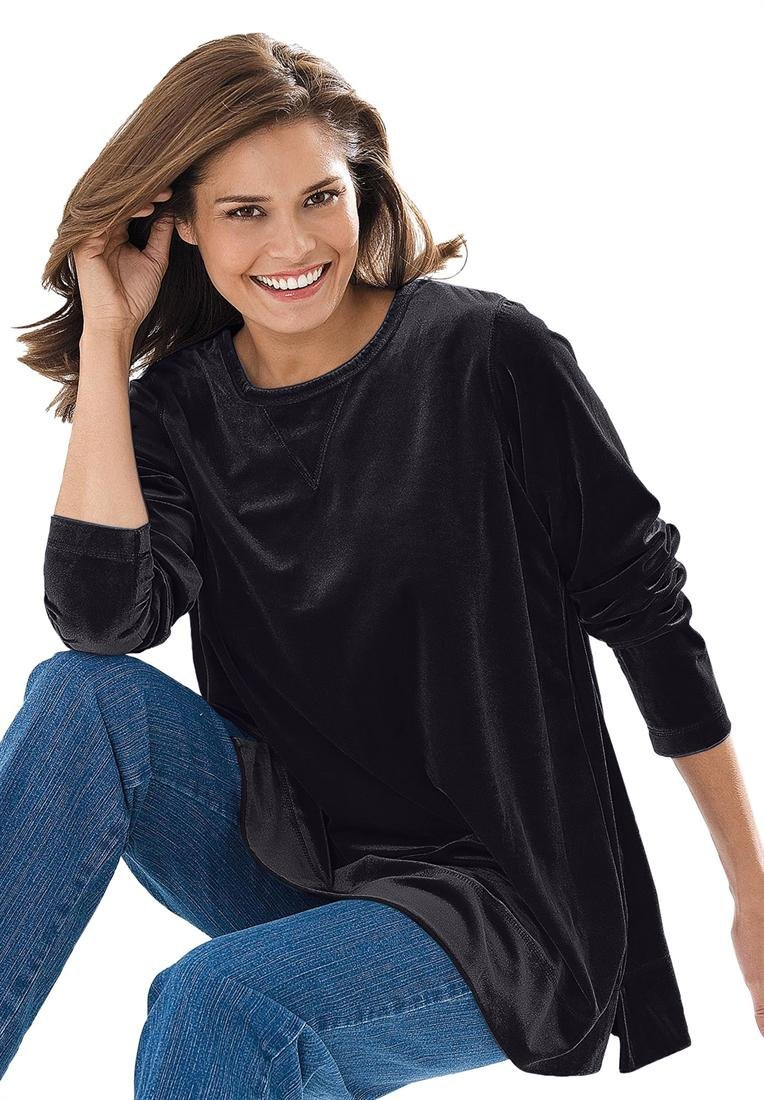 Woman Within Plus Size Top, sweatshirt in plush tuniclength velour