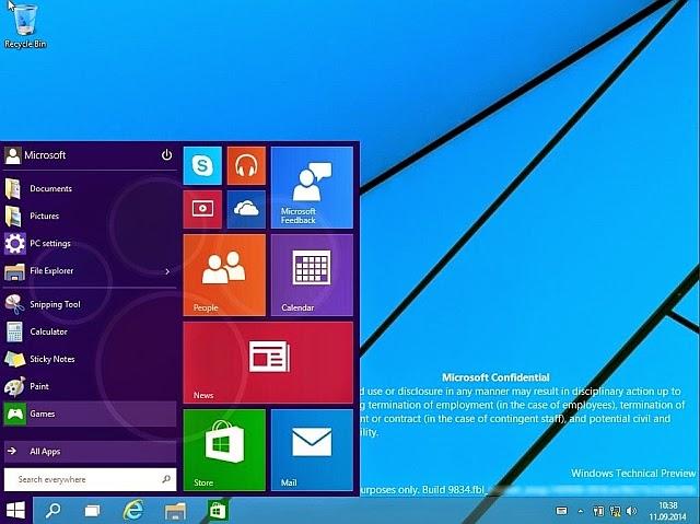windows 9 başlat menüsü
