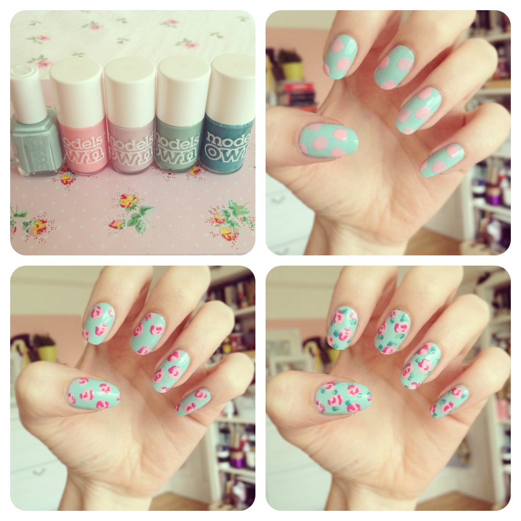 Vintage flower nail art yedith and edgar this week i decided to do a vintage nail art design it was inspired by burkatron vintage rose nail art tutorial i really like flowery designs and liked prinsesfo Gallery